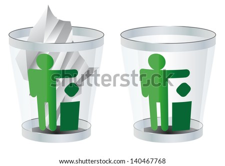 trash can vector illustration isolated two versions of eps 8 / trash can vector / ml1413 - stock vector