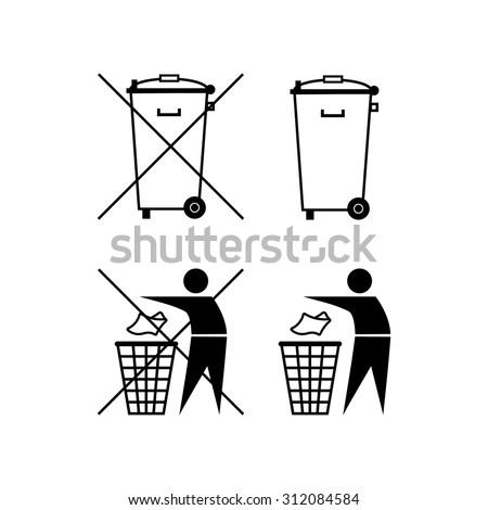 Trash can. Waste recycling. Do not litter. Municipal waste. Bin silhouette. Do not litter - stock vector