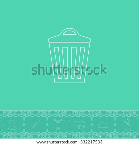 Trash can. White outline flat symbol and bonus icon. Simple vector illustration pictogram on green background