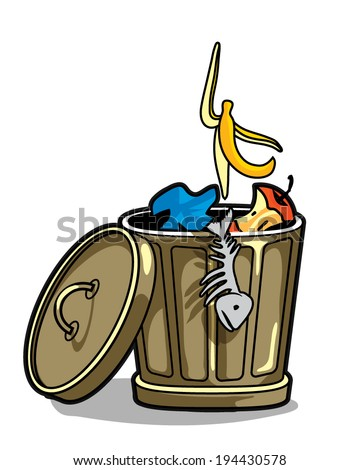 trash can with a banana peel, fish skeleton and stub - stock vector