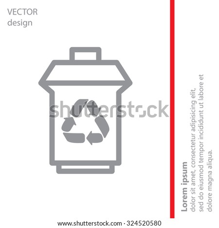 trash can with recycling symbol (icon) - stock vector