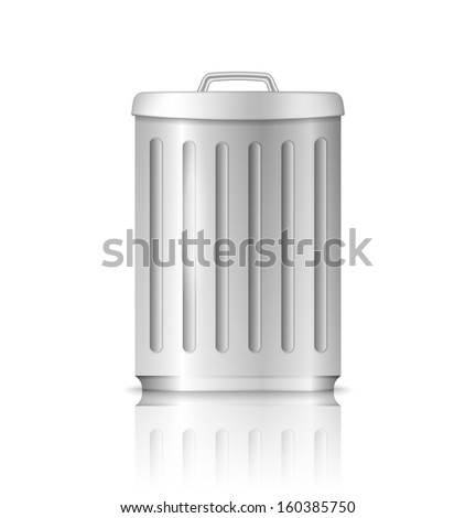 Trash can with reflection on white background, vector eps10 illustration
