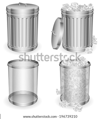 Trash cans with rumpled paper inside.