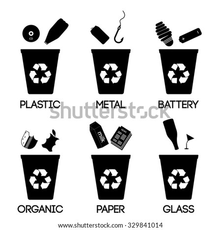 Trash categories. Recycle garbage bins. Separation concept. Set waste: plastic, organic, battery, glass, metal, paper. Environment protection. Caring for the environment - stock vector