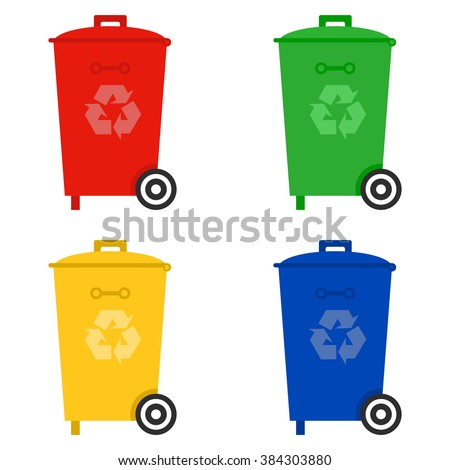 Trash color set icons. Trash icons. Trash flat icons. Vector illustration