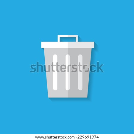 Trash flat icon with shadow. Vector illustration eps10. - stock vector