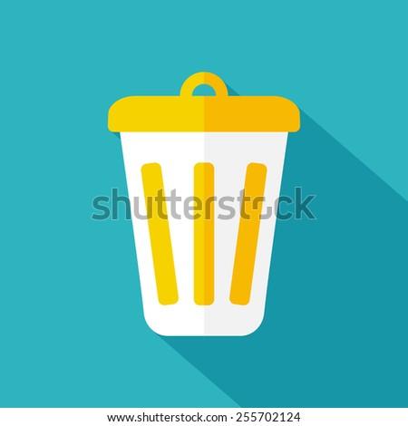 Trash icon. Flat design. Vector illustration - stock vector