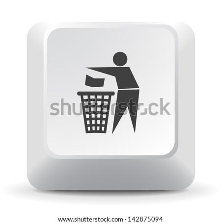 Trash Keyboard Key - stock vector