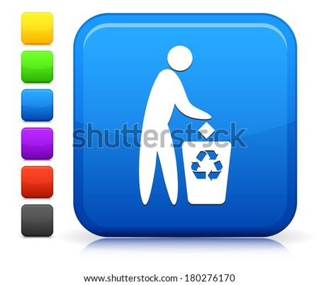 Trash Recycle Icon on Square Internet Button Collection