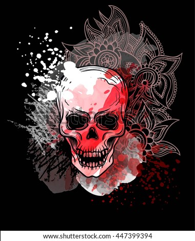 Trash skull with blood splatter and zentangle flowers. Trash polka old school tattoo style. Watercolor, chalk, pastels, pencils texture. Vector. - stock vector