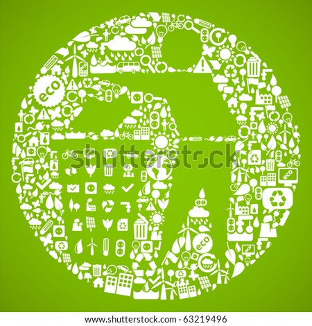 trash symbol made from little ecology icons - sustainable development concept - stock vector