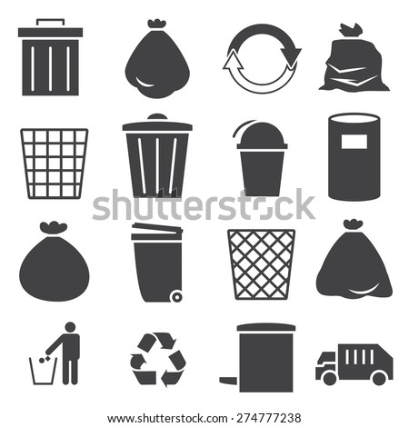 trashcan icon set - stock vector