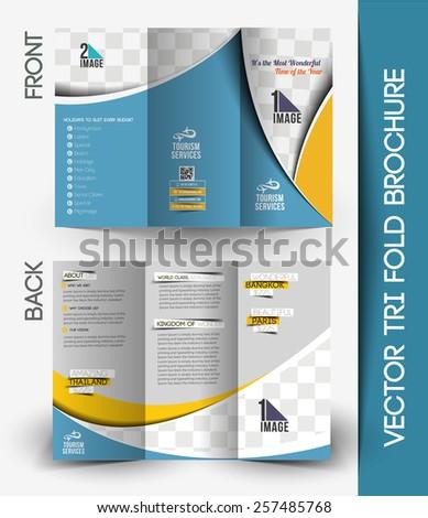 Travel Agencies Tri-Fold Mock up & Brochure Design - stock vector