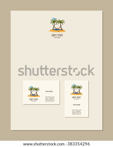 Travel agency business card template palm stock vector 383354296 travel agency business card template palm trees with a hammock on the island hand colourmoves