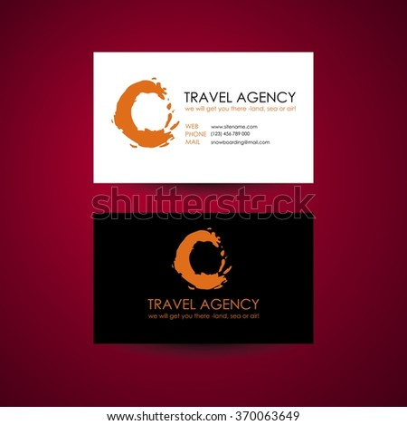 travel agency business card template travel stock vector 370063649