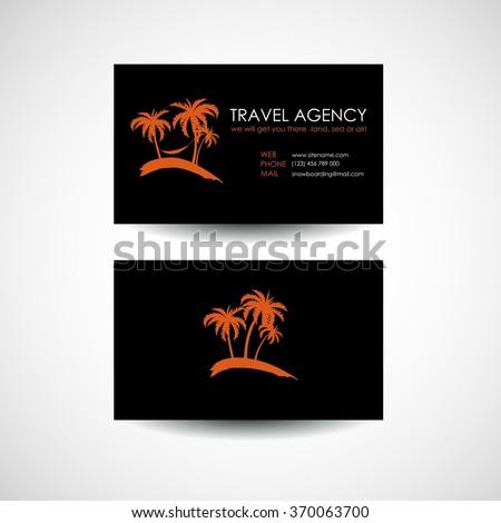 Travel agency business card template. Travel agency logo design idea - stock vector