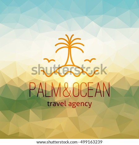 Travel Agency Logo On Polygon Seascape Background Palm Island And Wave