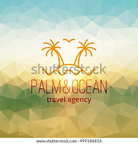 Travel Agency Logo On Polygon Seascape Background Palms Island And Wave
