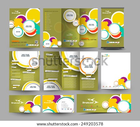 Travel Agent Business Stationery Set Template  - stock vector