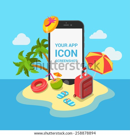 Travel air tickets resort hotel booking mobile app mockup showcase flat 3d isometric template vector illustration. Smartphone on tropic island beach among vacation objects: slippers suitcase cocktail. - stock vector