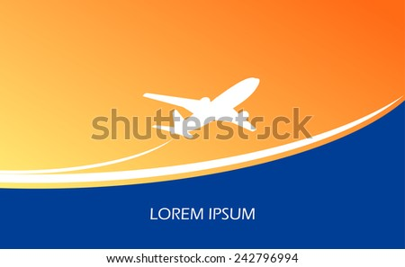 Travel airplane ticket blue vector background - stock vector