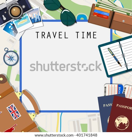 Travel and adventure template, travel time,Travel time template. International passport, boarding pass, tickets on the map background. vector illustration. travel and vacations concept  in flat design - stock vector