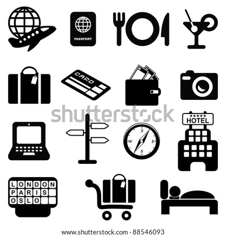 Travel and airport icons set-Silhouettes - stock vector