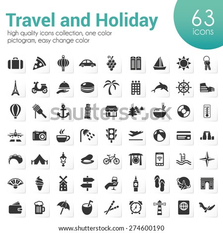travel and holiday icons - stock vector