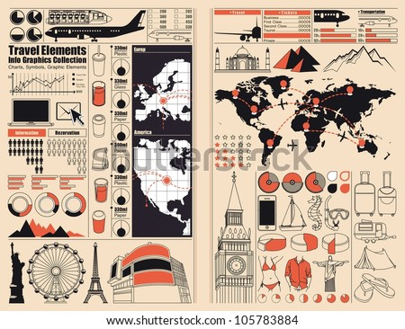 Travel and Holiday icons, vector info graphics - stock vector
