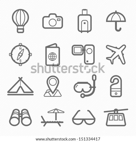 travel and holiday symbol line icon on white background vector illustration