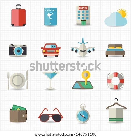 Travel and hotel holiday icons - stock vector