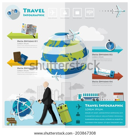 Travel And Journey Business Infographic Design Template - stock vector