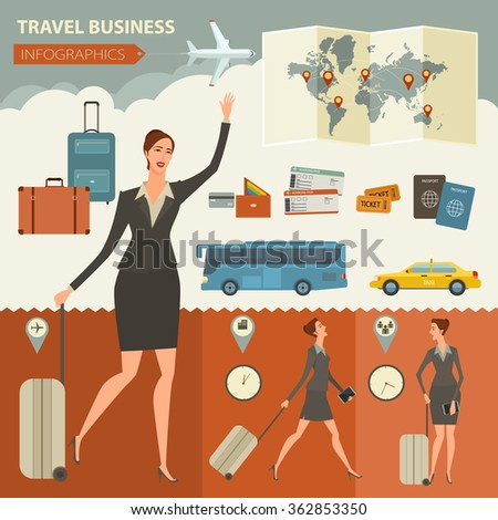 Travel And Journey Business Infographic Design Template for your business, web sites, presentations, advertising. Quality design vector illustrations, elements and concept. Flat style. - stock vector
