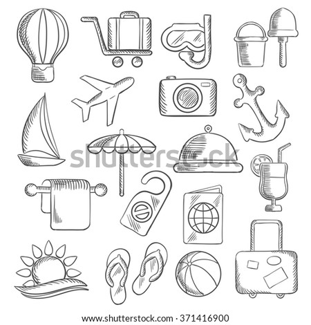 Travel and leisure sketch icons with airplane, luggage and passport, sun and sea, hotel service and sailboat, anchor and cocktail, beach umbrella and toys, photo camera and diving mask, air balloon