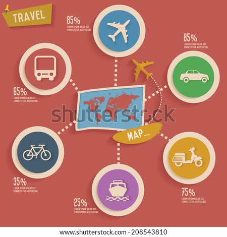 Travel and map info graphic design,clean vector - stock vector