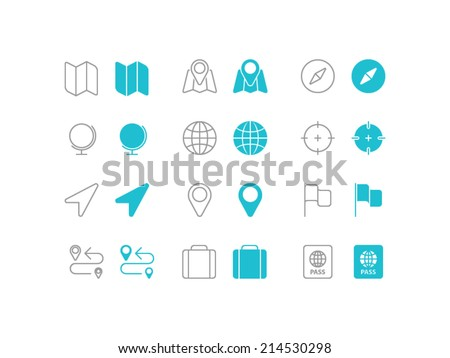 Travel and Navigation set. Trendy thin icons for web and mobile. Line and full versions. Normal and enable state - stock vector