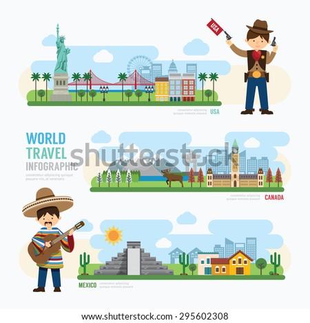 Travel and outdoor Landmark mexico, canada, usa Template Design Infographic. Concept Vector Illustration  - stock vector