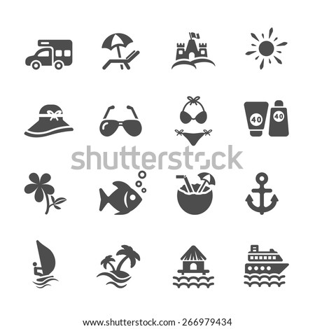 travel and summer beach icon set 2, vector eps10. - stock vector