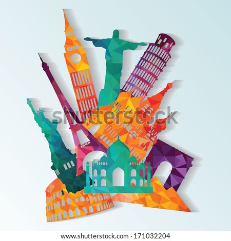 Travel and tourism background - stock vector