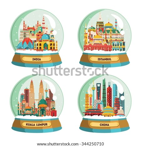 Travel and tourism background. India, Istanbul, Kuala Lumpur, China. Winter souvenir. Vector illustration - stock vector