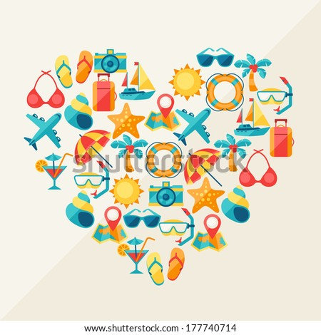 Travel and tourism background of icons in heart shape. - stock vector