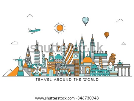 Travel and tourism background. Vector background. line illustration. Line art style - stock vector