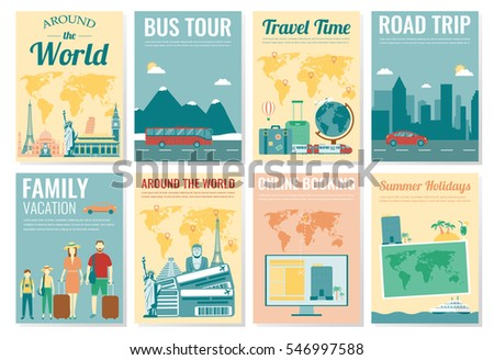 Travel Tourism Brochure Set Template Magazine Stock Vector