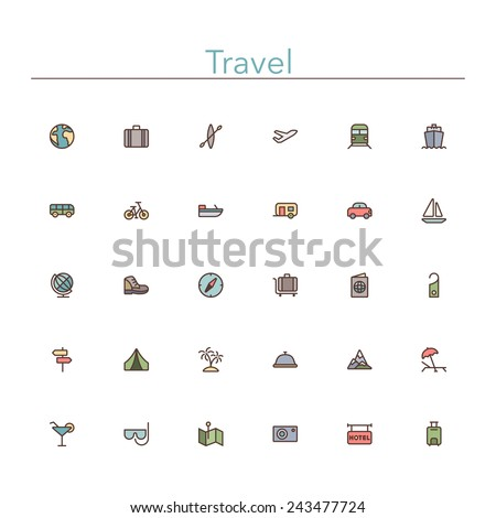 Travel and tourism colored line icons set. Vector illustration. - stock vector