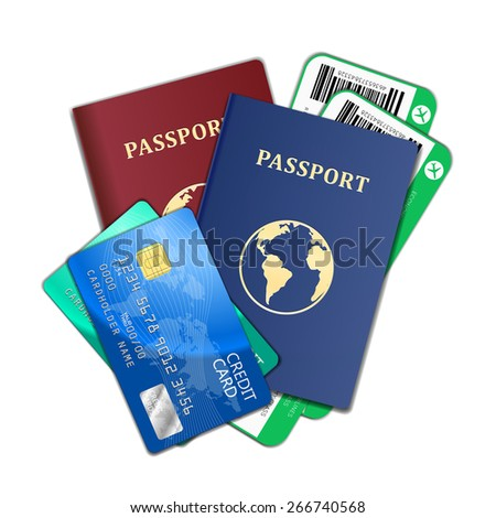 Travel and tourism concept. Air tickets, passports and credit cards, tourism and planning, vector illustration - stock vector
