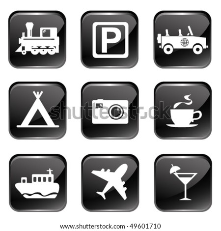 Travel And Tourism Icon Set - stock vector