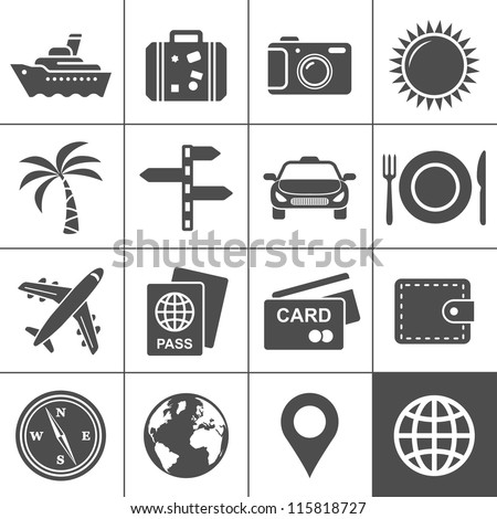 Travel and tourism icon set. Simplus series. Each icon is a single object (compound path)