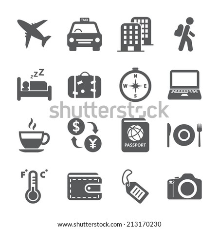 travel and tourism icon set, vector eps10. - stock vector