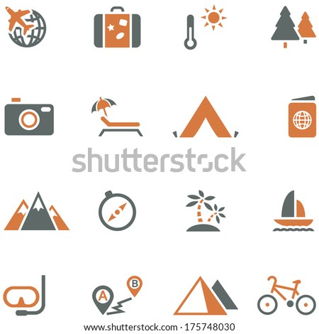 Travel and tourism icon set vector for design. Possible to easily change the colors and size without losing image quality. - stock vector