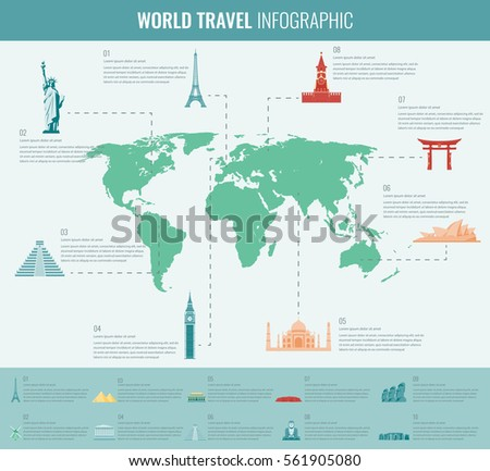 Infographics set world map information graphics vectores en stock infographic set with world map and landmarks vector gumiabroncs Image collections
